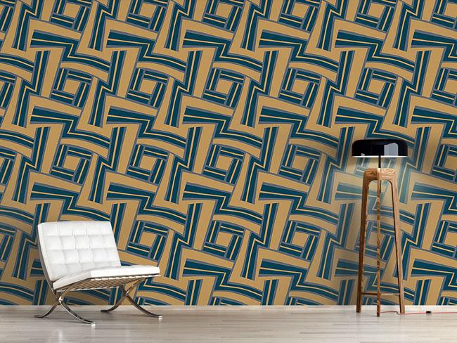 Designtapete Labyrinth Blau
