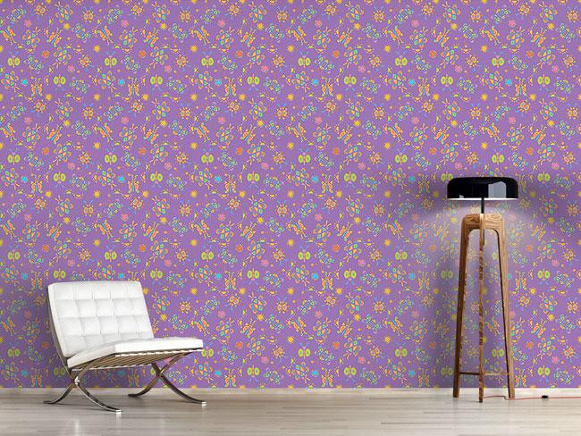 Designtapete Kribbel Krabbel Violett