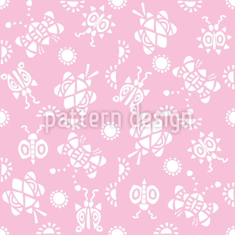 Designtapete Kribbel Krabbel Pink