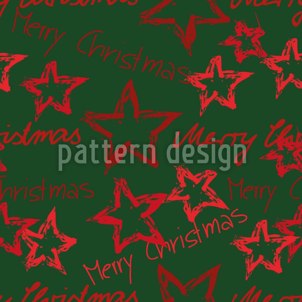 Designtapete Merry Christmas Grün