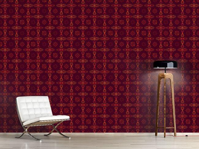 Designtapete Renaissance Kristall Rot