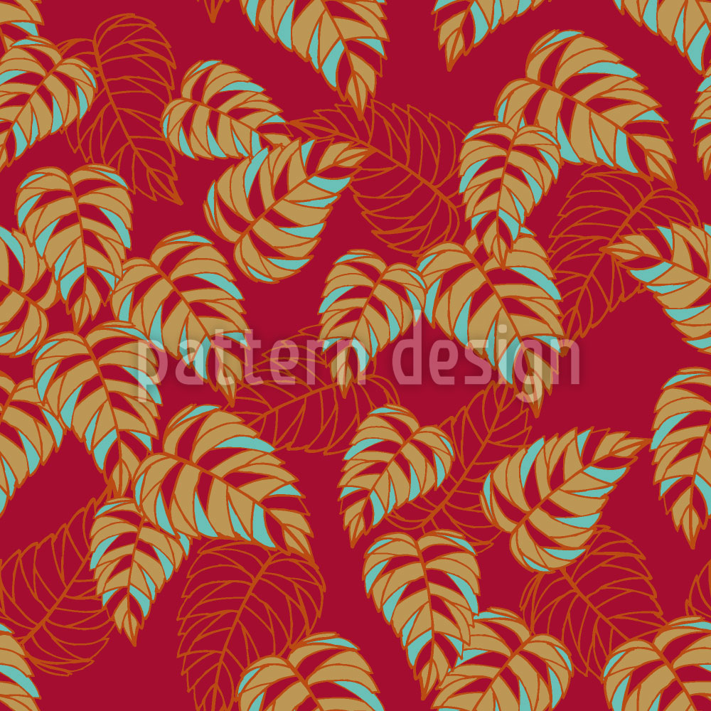 Designtapete Birkenblätter auf Rot