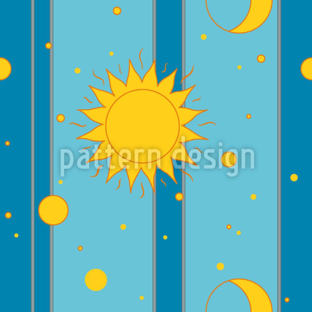 Designtapete Sonne, Mond und Sterne