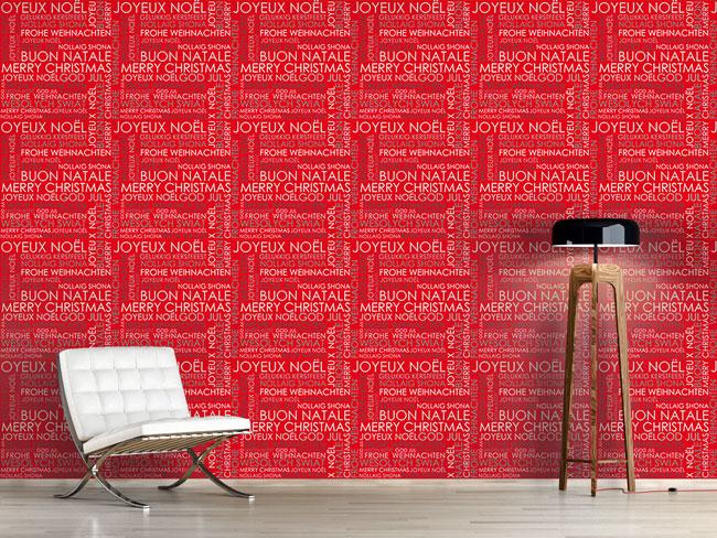 Designtapete Weihnachstgrüsse Rot