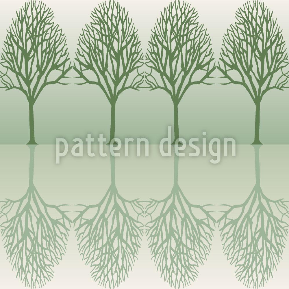 Designtapete Baumallee Grün