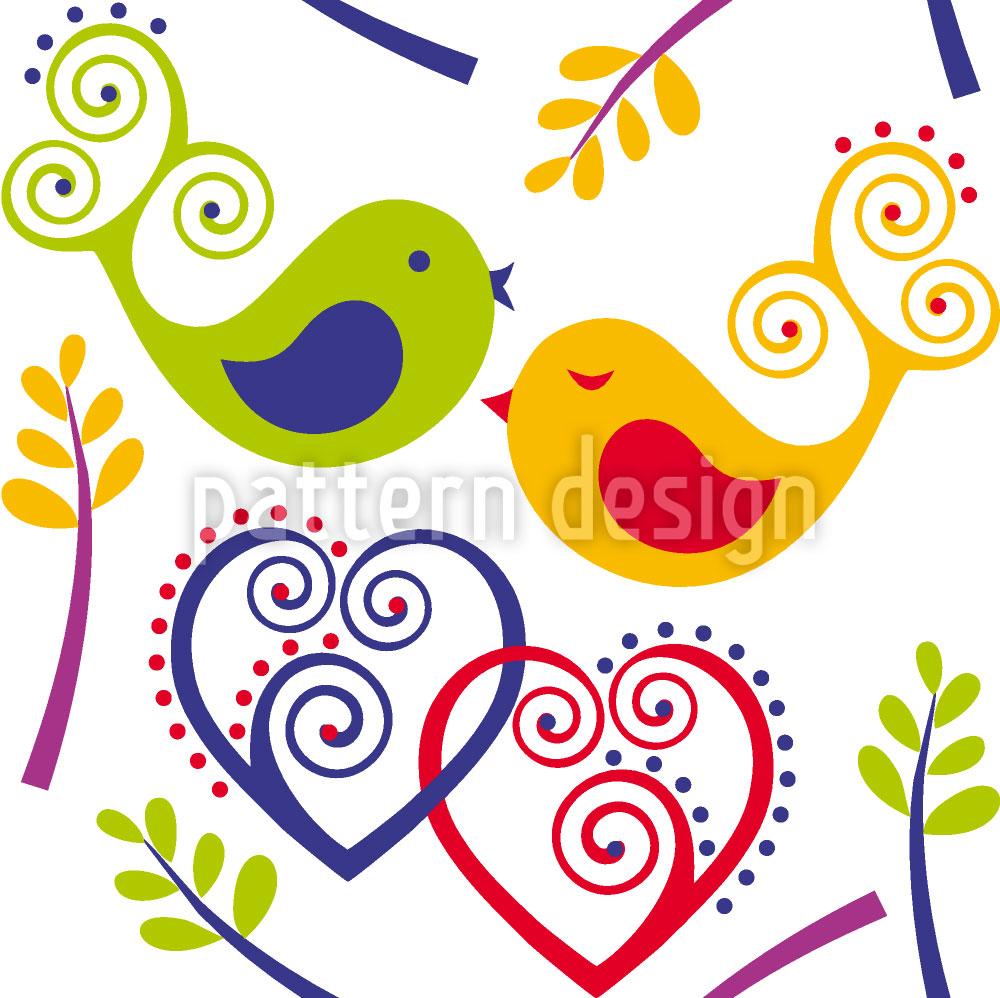 Designtapete Verliebte Vögel