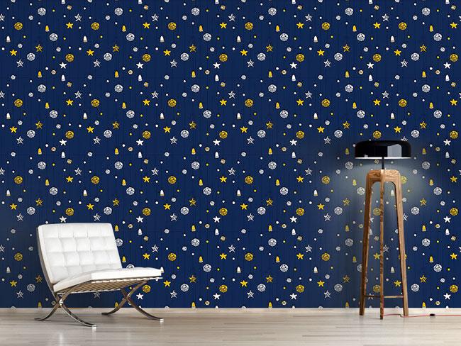 Designtapete Weihnachtsschmuck Blau
