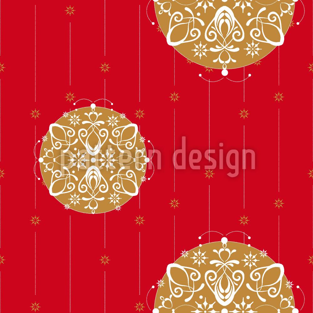 Designtapete Christbaumkugeln auf Rot