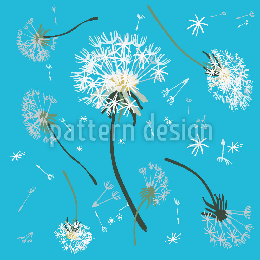 Designtapete Pusteblumen Blau