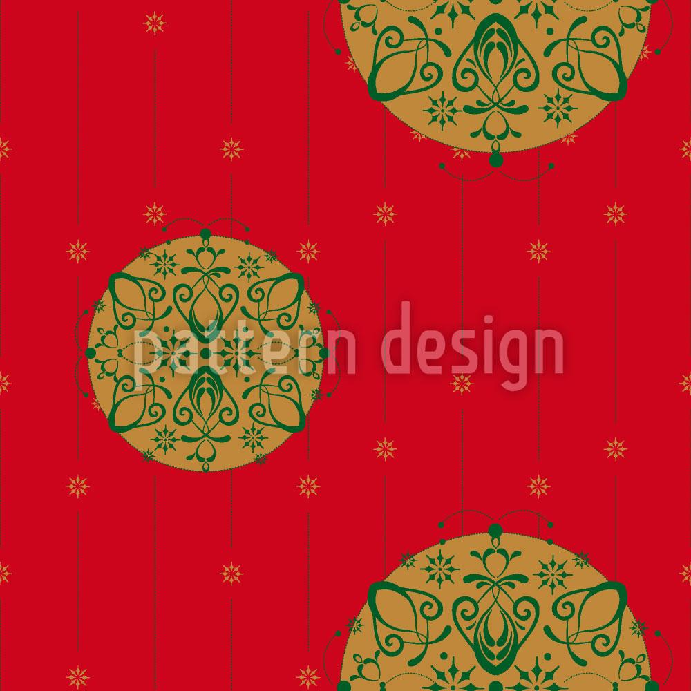 Designtapete Stilisierte Christbaumkugel Rot