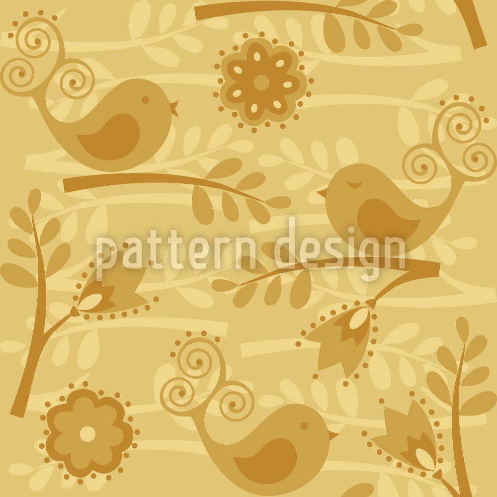 Designtapete Goldener Vogelgesang