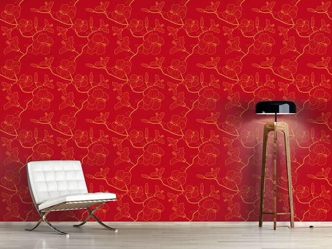 Designtapete Hibiskustraum In Rot