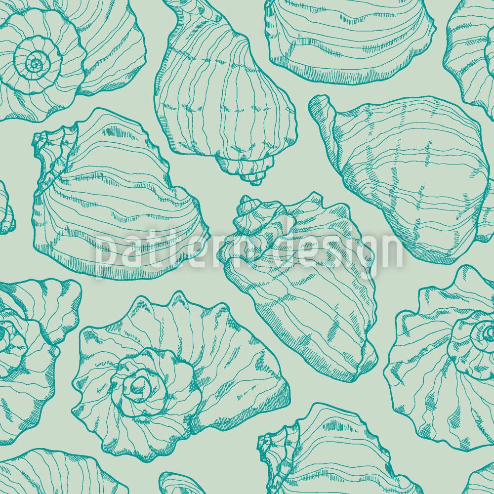 Designtapete Meeresmuscheln Aqua