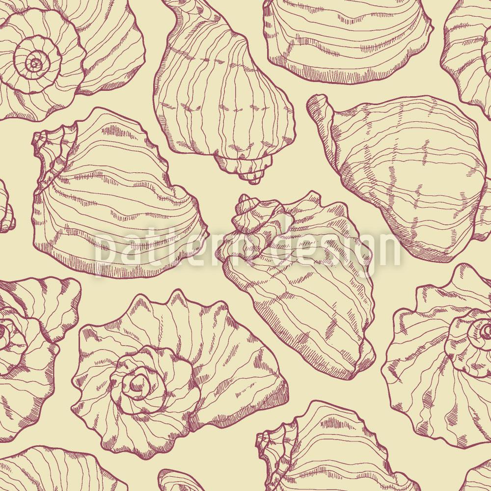 Designtapete Meeresmuscheln Gelb