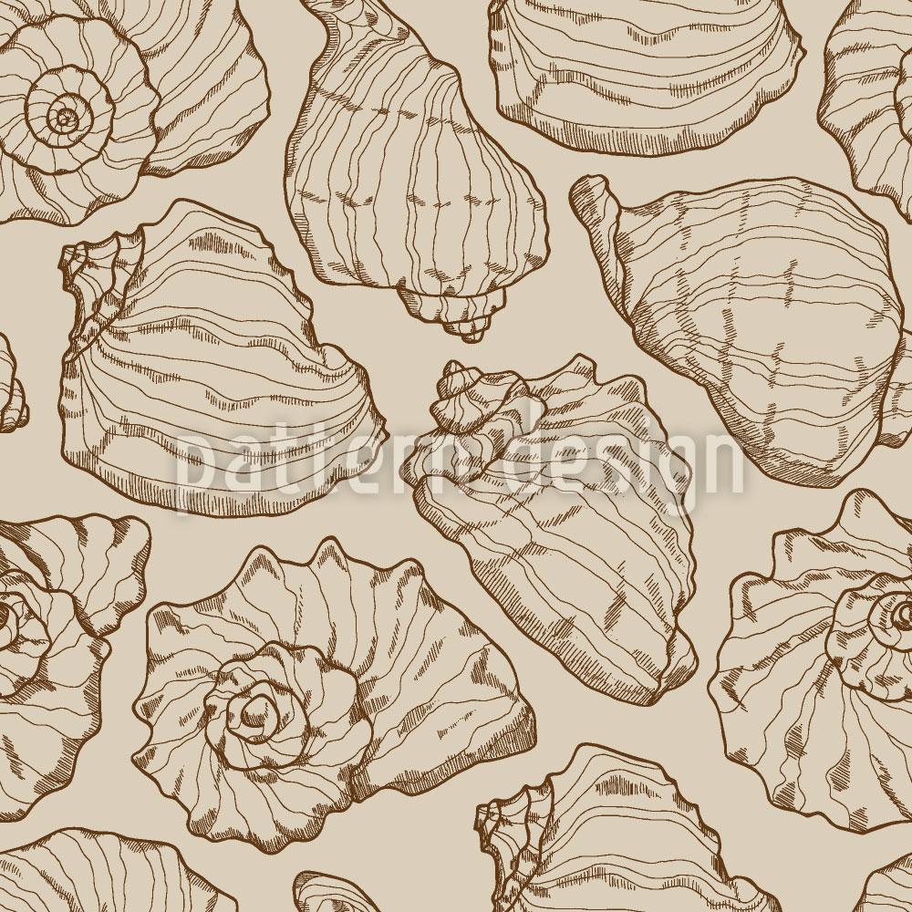 Designtapete Meeresmuscheln Sand