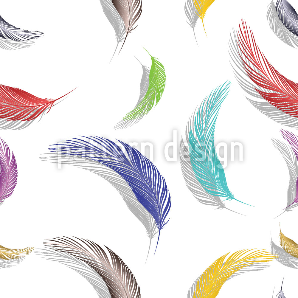 Designtapete Farbenfrohe Federn