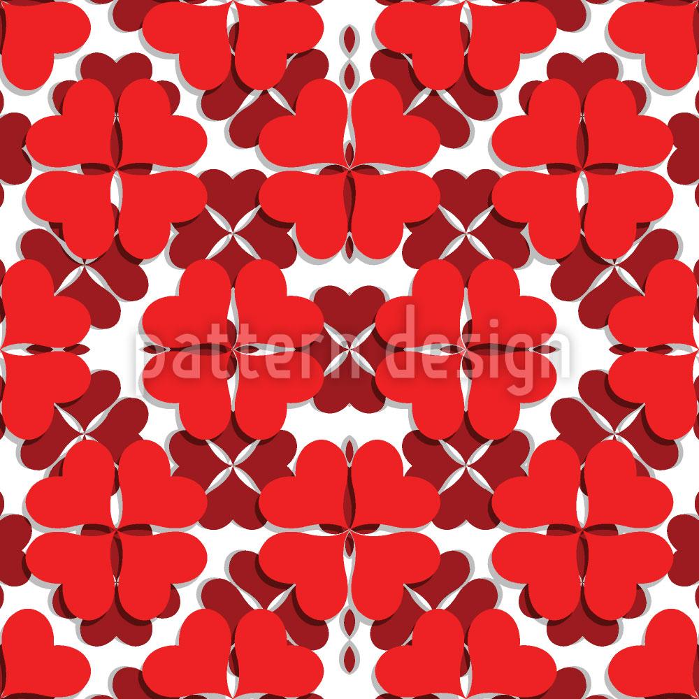 Designtapete Kleeblatt In Rot