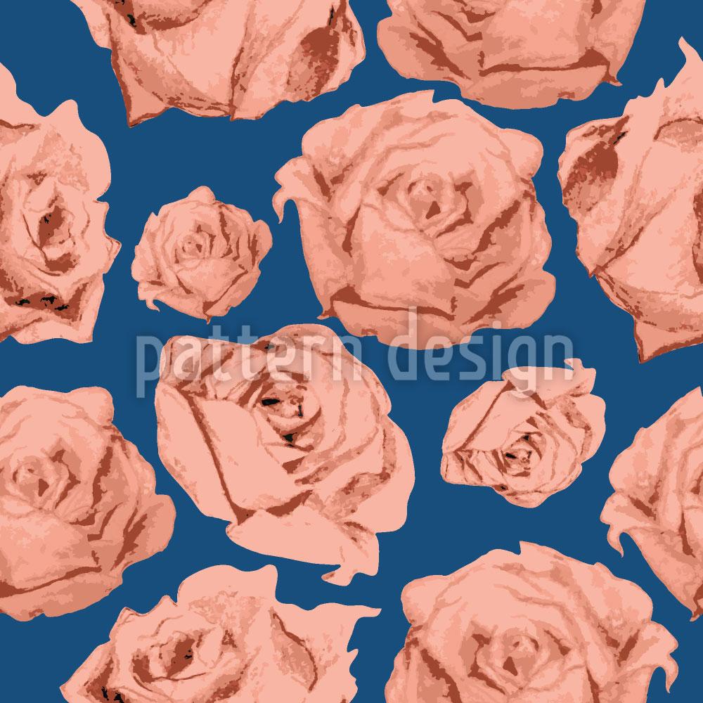 Designtapete Art Rose Blau
