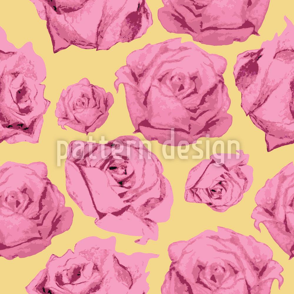 Designtapete Art Rose Gelb