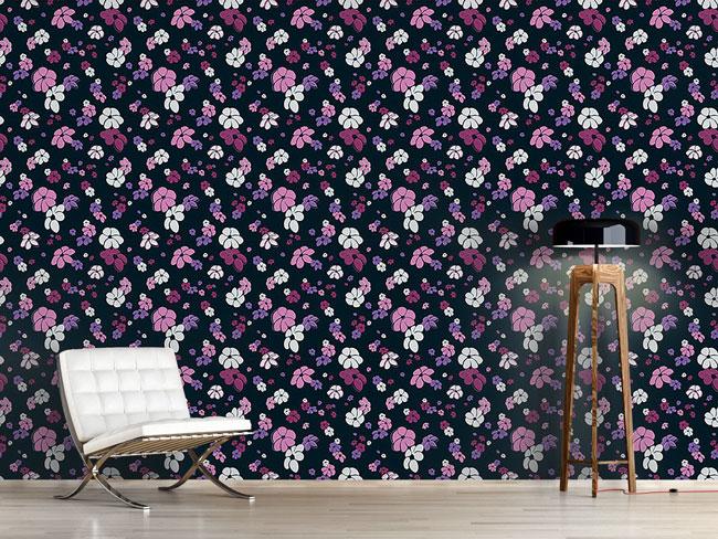 Designtapete Blumenregen In Rosa