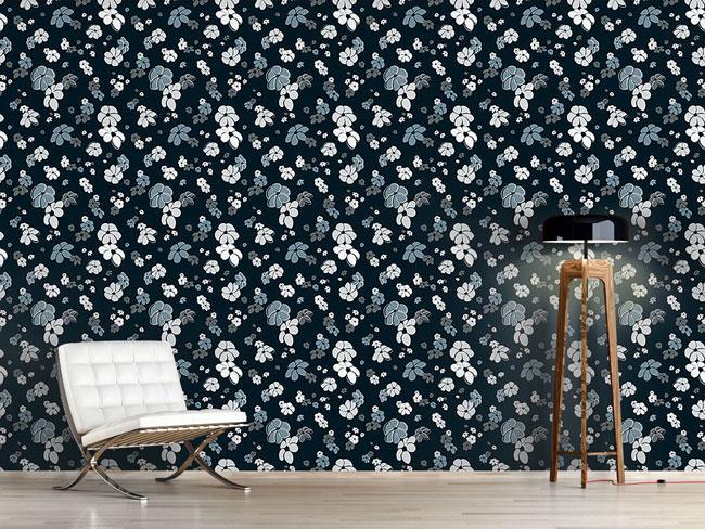 Designtapete Blumenregen In Blau