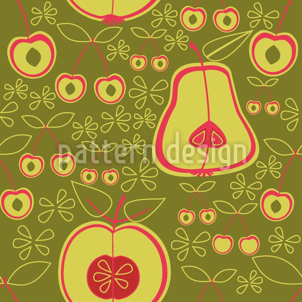 Designtapete Obstgarten Grün