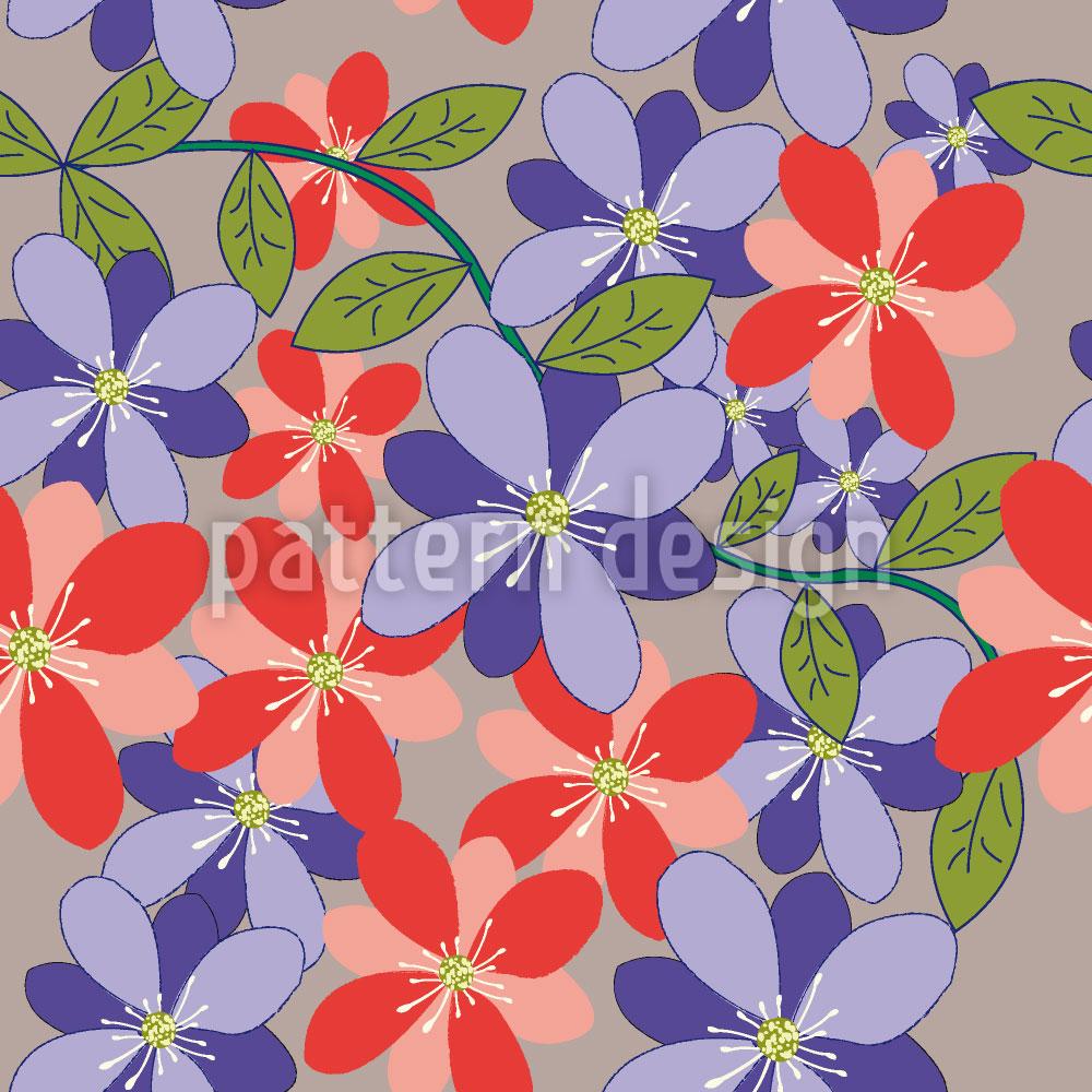 Designtapete Blüten Und Blätter Grau