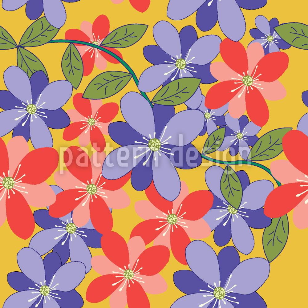 Designtapete Blüten Und Blätter Gelb