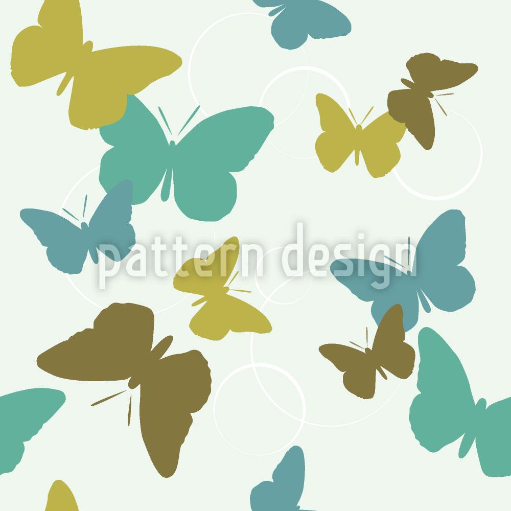 Designtapete Zeit der Schmetterlinge Grün