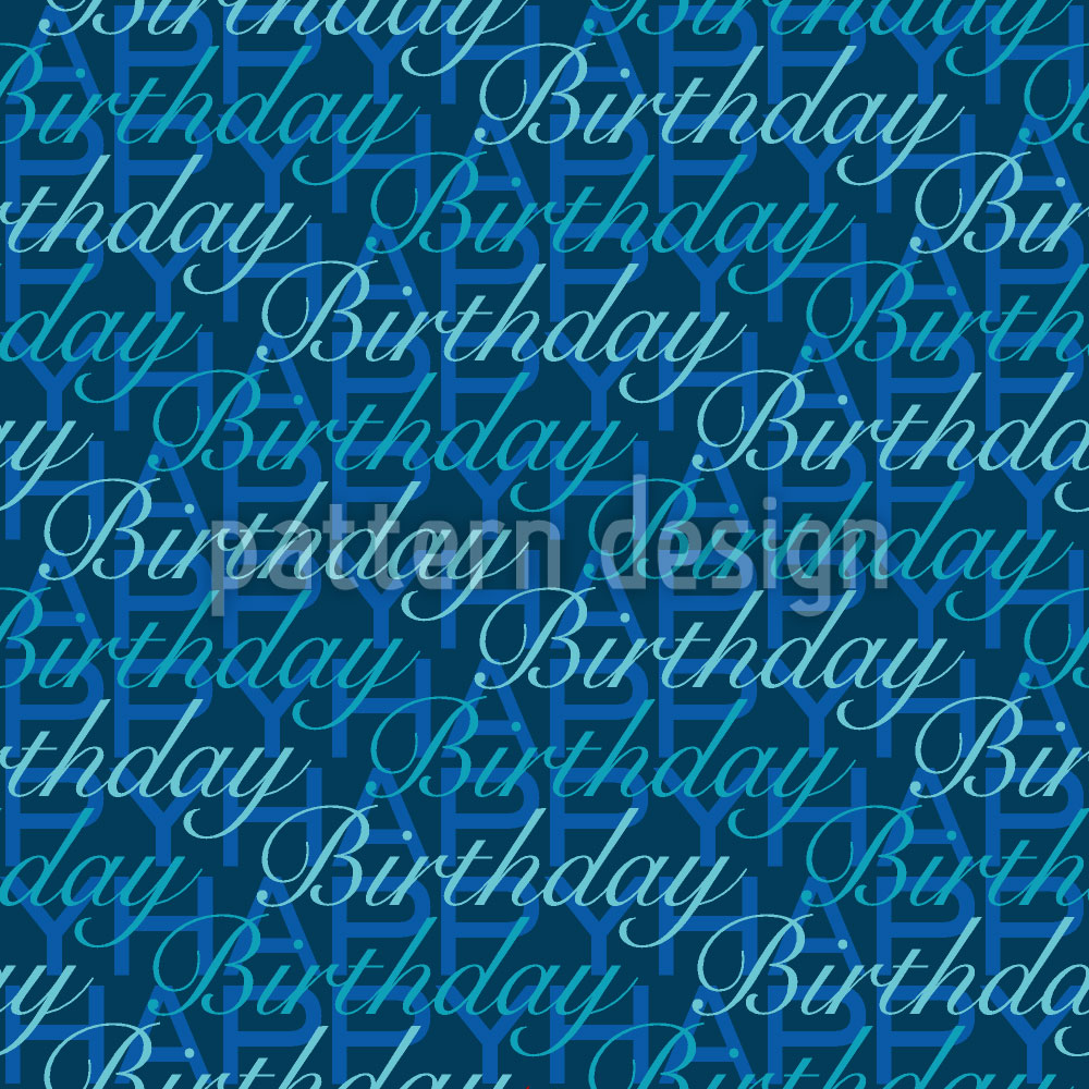 Designtapete Happy Birthday Blues