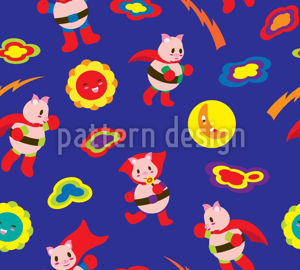 Designtapete Super Schweinchen Rettet Die Welt