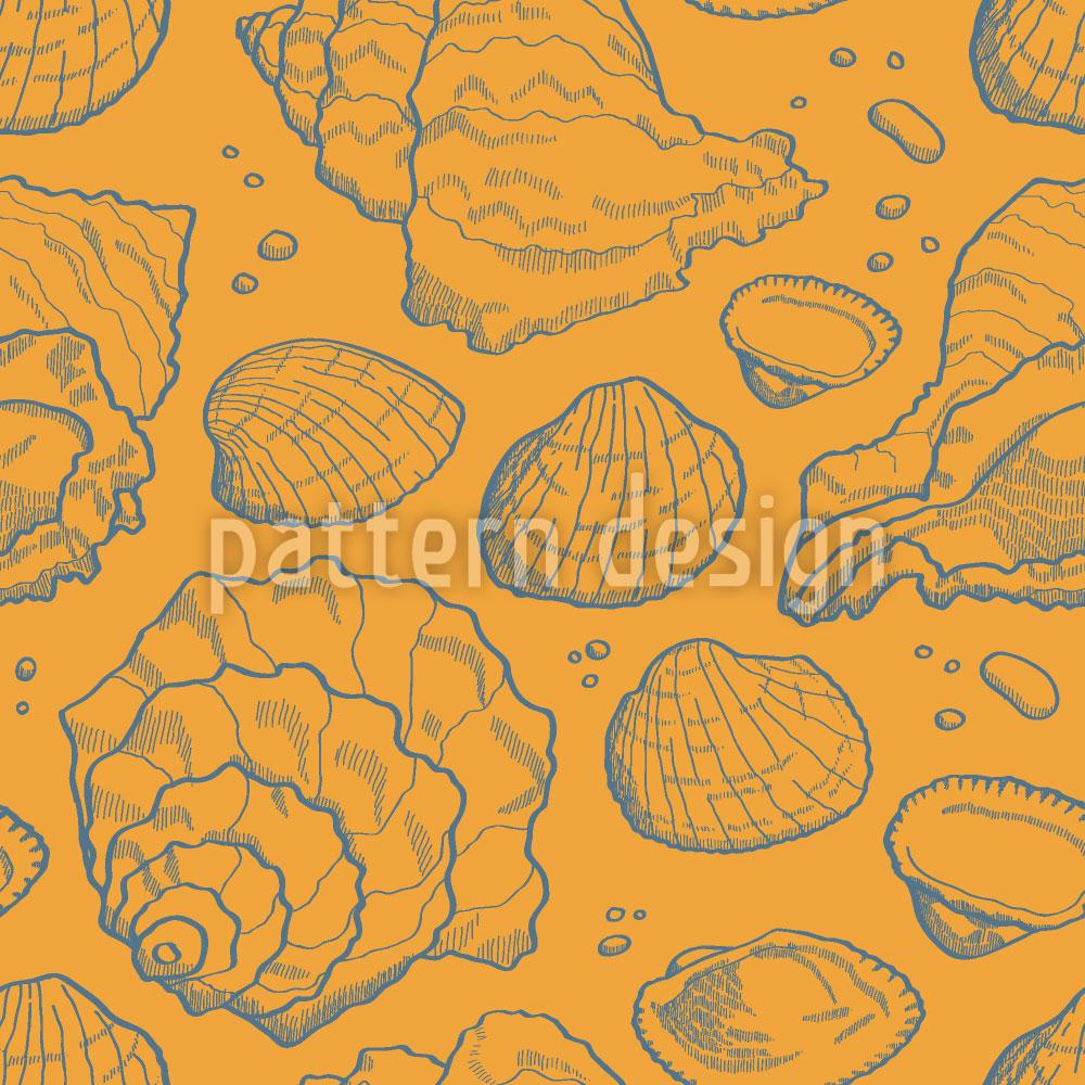 Designtapete Meeresmuscheln Gold