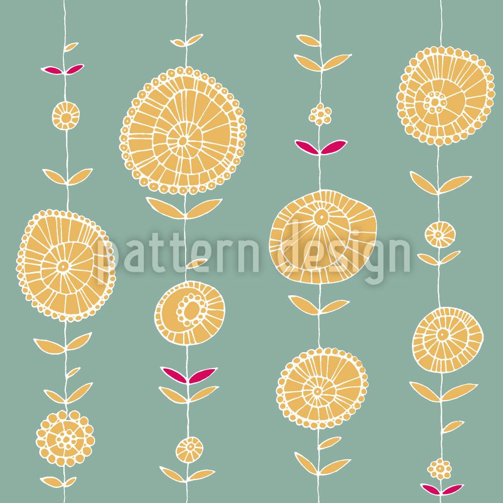 Designtapete Blumenkette Gelb