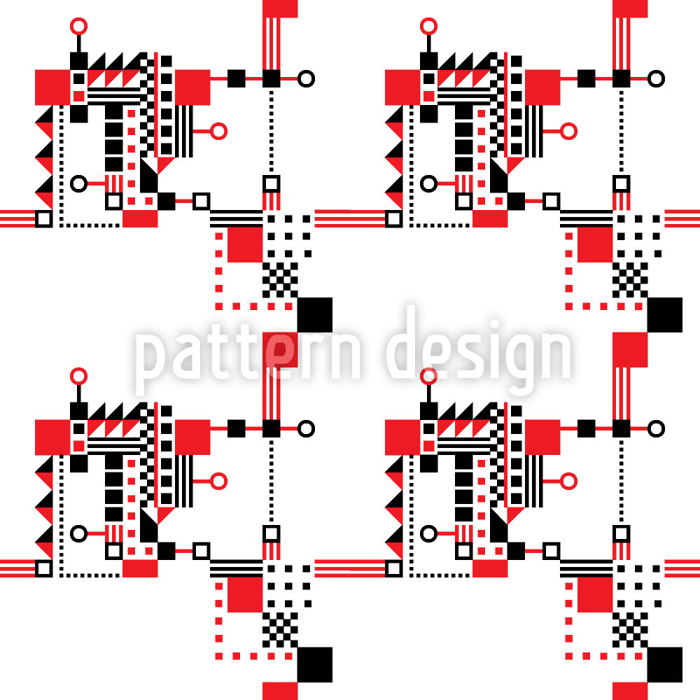 Designtapete Rot Und Schwarz Konstruktion
