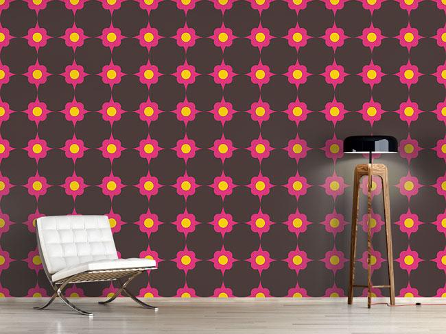 Designtapete Blumenpunkte Pink