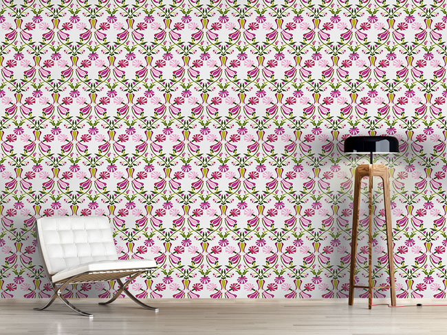 Designtapete Tulpen Und Nelken Pink