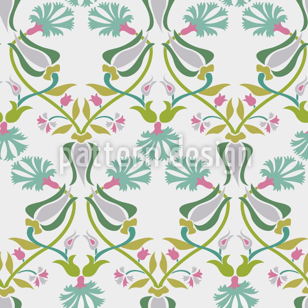Designtapete Tulpen Und Nelken Geflecht