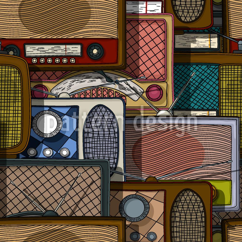 Designtapete Retro Radios