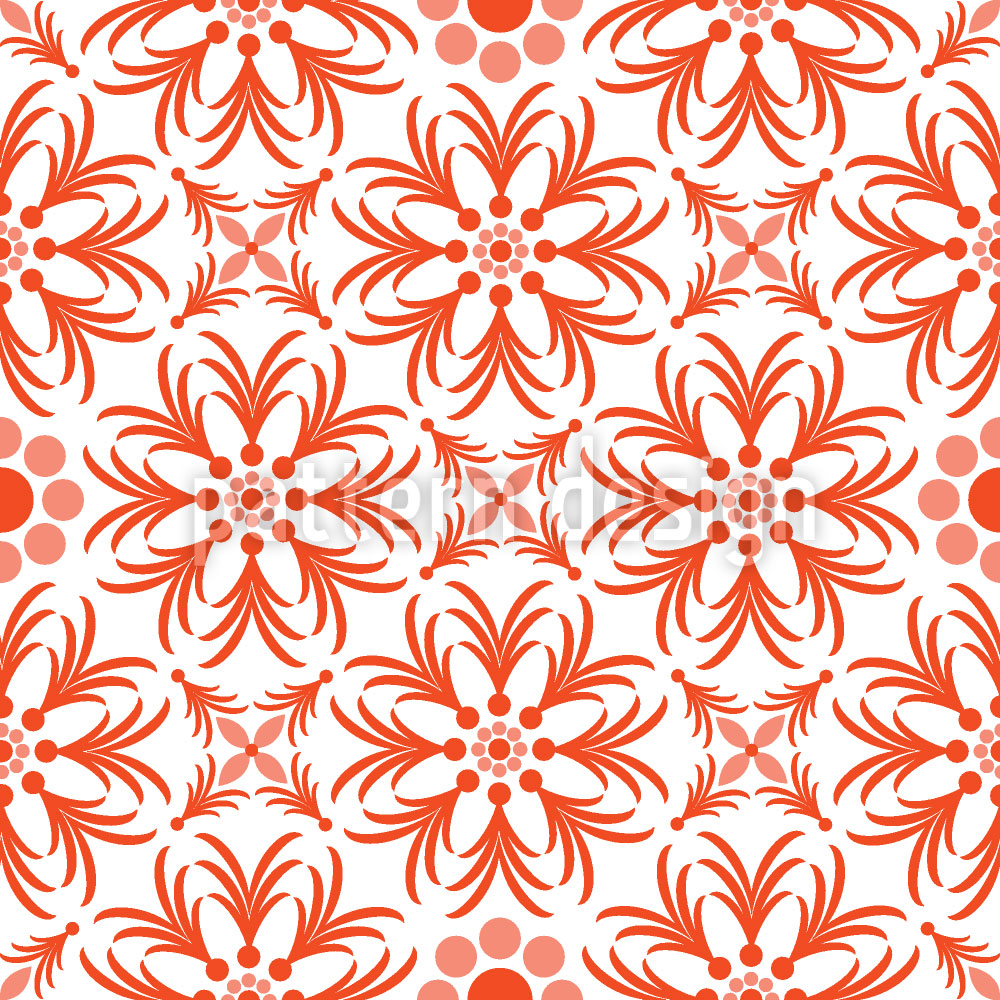 Designtapete Orange Blumen
