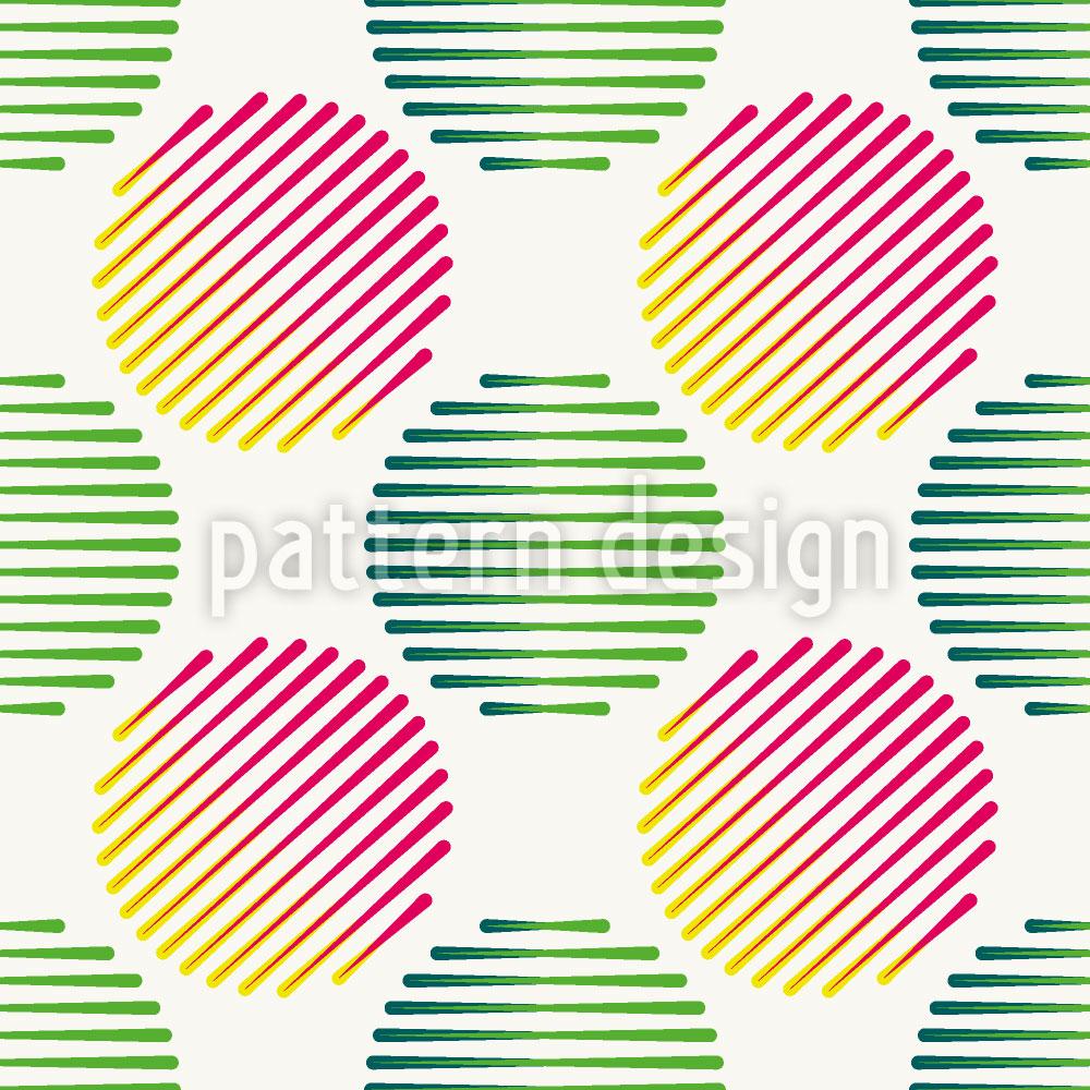 Designtapete Streifenbälle
