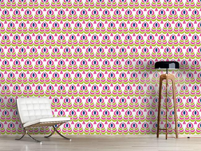 Designtapete Skandinavische Blumen Muster