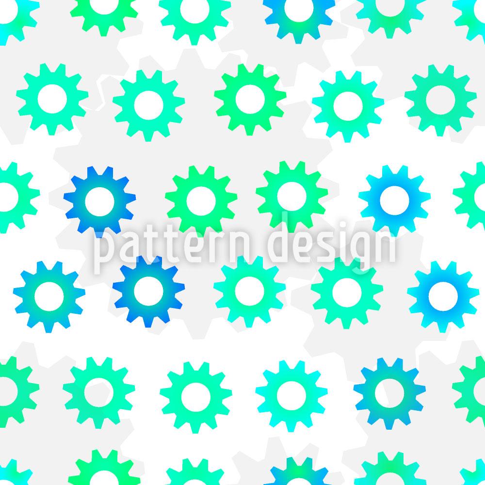 Designtapete Grünblaue Zahnräder
