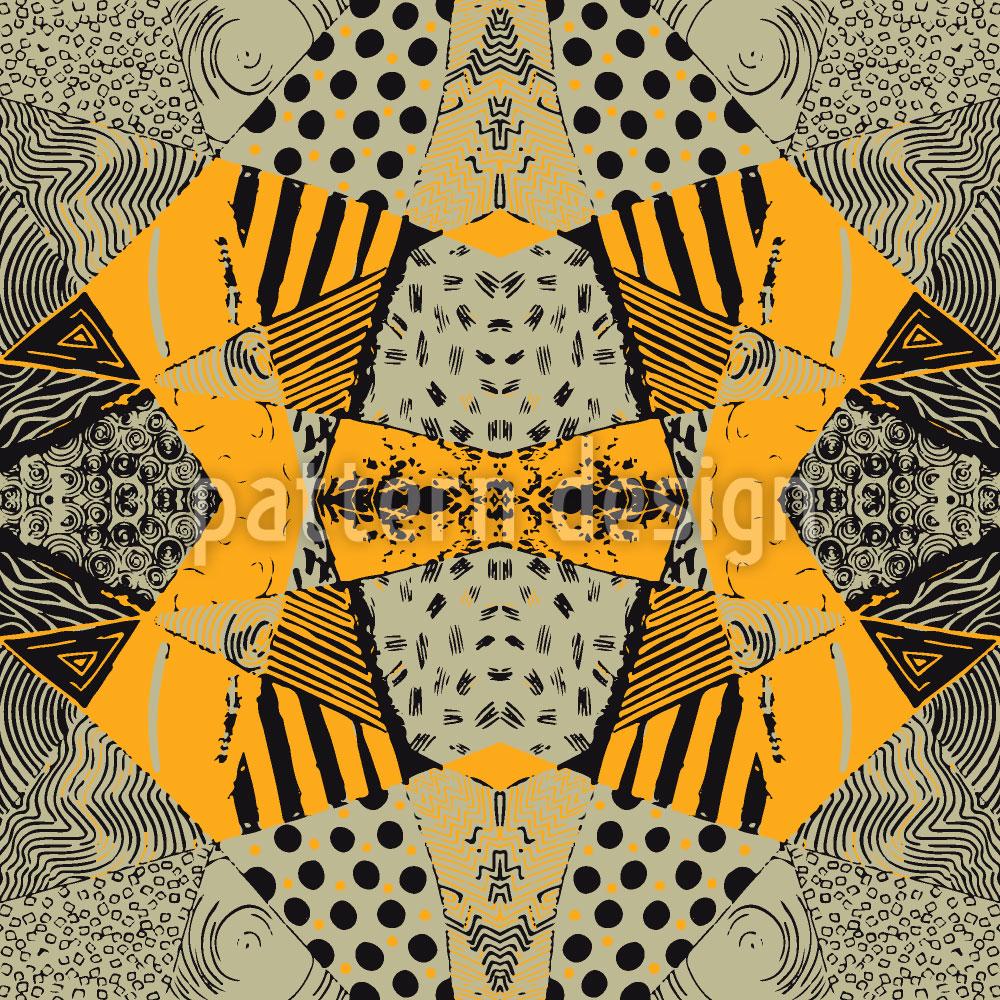Designtapete Patchwork Safari