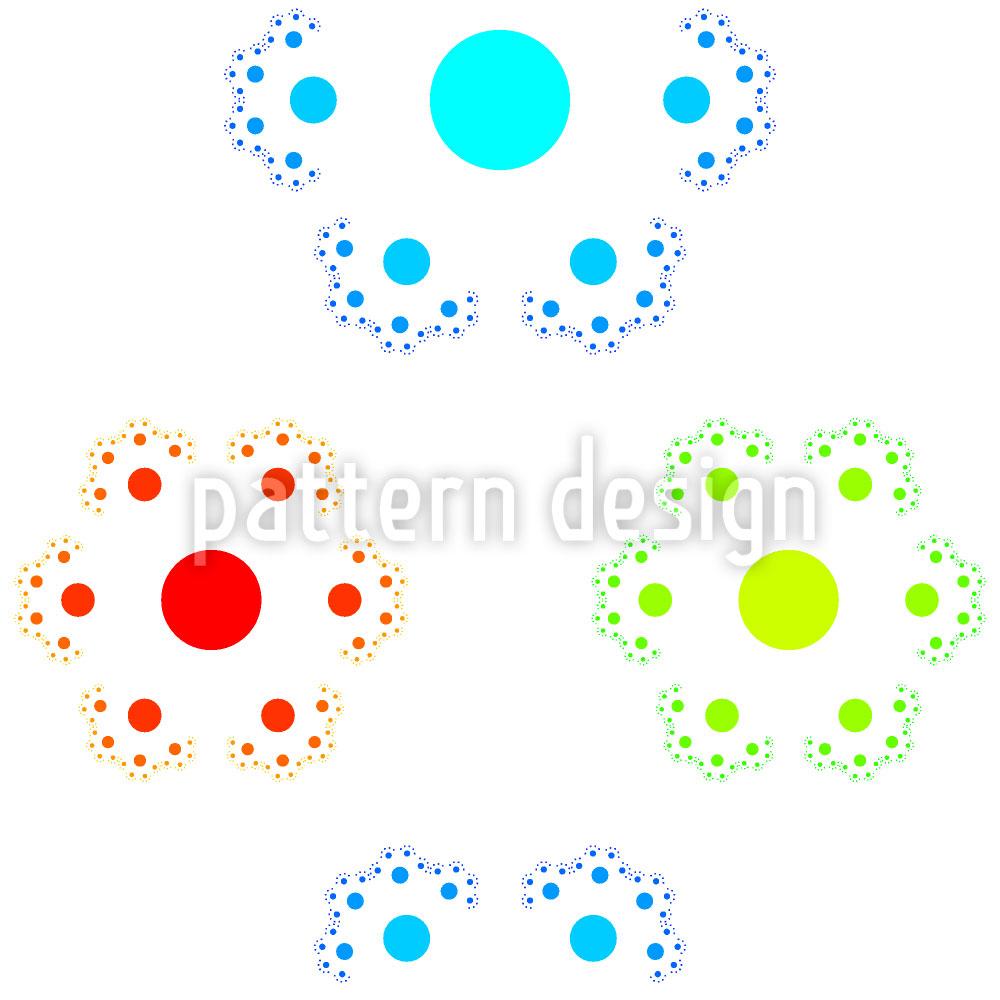 Designtapete Sechsteilige Punkteblume