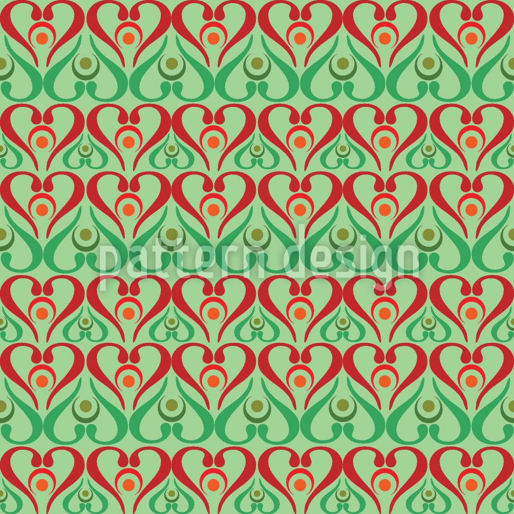 Designtapete Herzen Auf Grün