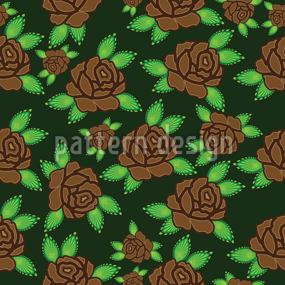 Designtapete Goldene Herbstrosen