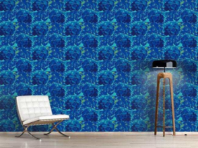 Designtapete Hortensia Blau