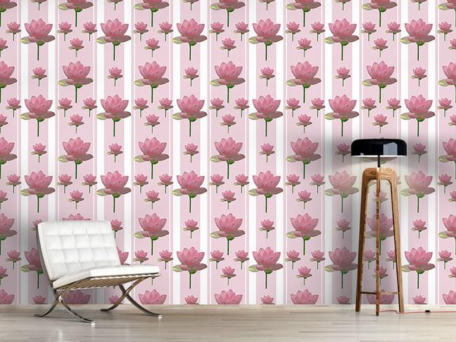 Designtapete Rosa Lotusblumen Auf Patroullie