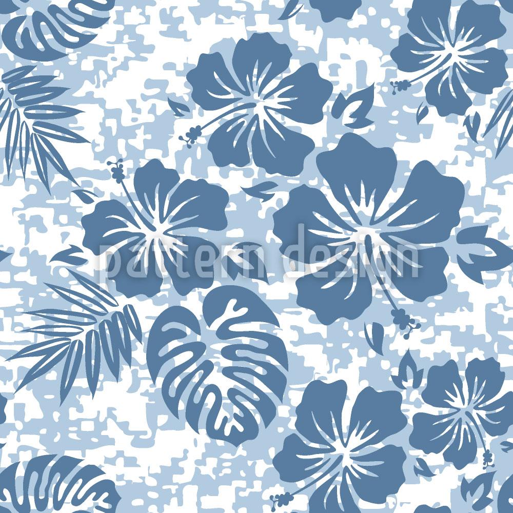 Designtapete Hawaii Hibiskus Blau