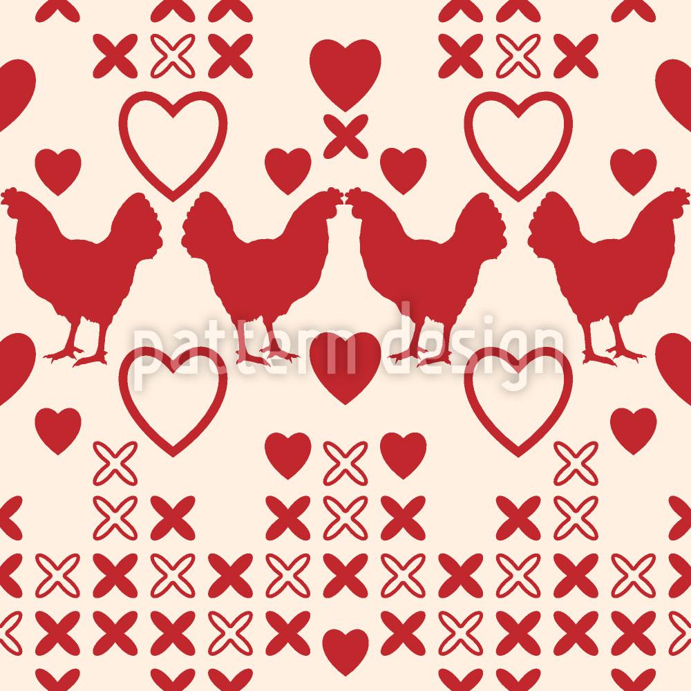 Designtapete Hühner Haben Grosse Herzen